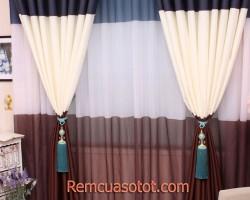 Rèm vải chống nắng tuyệt đối màu sọc trắng mã RV807