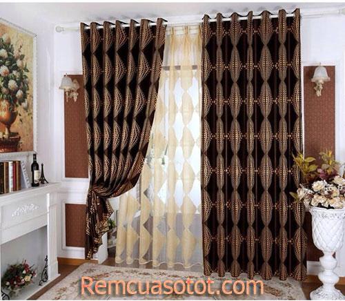 Rèm vải phòng ngủ tối màu 2 lớp mã RV816