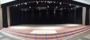 Phông hội trường, rèm sân khấu màu xanh rêu hoành tráng mã PHT 110
