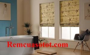 Rèm cửa sổ Roman xếp lớp màu xanh bộ đội mã RM 832