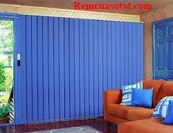 Rèm lật, rèm lá dọc màu xanh dương cho phòng khách mã RLD 116