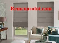 Rèm xếp lớp màu ghi sáng trang trí phòng khách đẹp mã RM 840