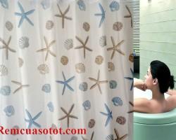 Màn phòng tắm, rèm treo nhà tắm màu xanh biển nhạt mã RPT 003