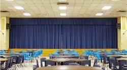 Rèm hội trường, phông hội nghị màu xanh giá rẻ nhất mã PHT 111
