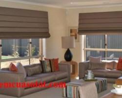 Rèm Roman màu nâu cho phòng khách đẹp giá rẻ mã RM 836