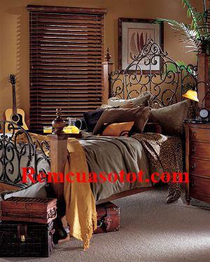 Rèm sáo gỗ cao cấp cho phòng ngủ cổ điển châu Âu mã RG 122