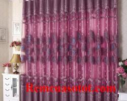 Rèm vải Ô rê màu tím đẹp, trẻ trung chung thủy mã RV 843
