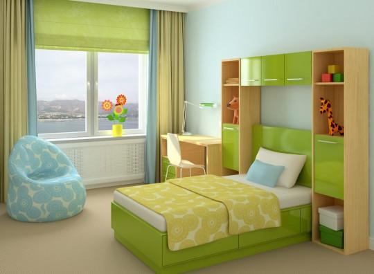 Rèm vải Roman xếp lớp màu xanh cốm đẹp cuốn hút mã RM 828