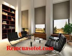 Rèm cuốn chống nắng xanh rêu mộc mạc tự nhiên mã RC 841