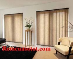 Rèm lá dọc màu rêu cho phòng khách mộc mạc mã RLD 133