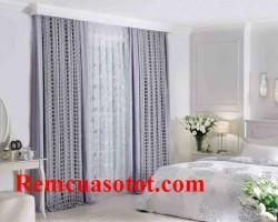 Rèm vải 2 lớp phòng ngủ màu ghi dịu nhẹ êm ái mã RV 855