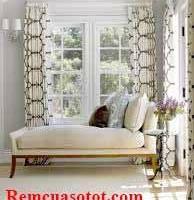 Rèm vải họa tiết màu vàng chanh hấp dẫn cho phòng ngủ mã RV 856