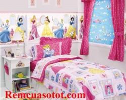 Rèm vải màu hồng dịu ngọt xinh tươi cho phòng bé gái mã RV 853